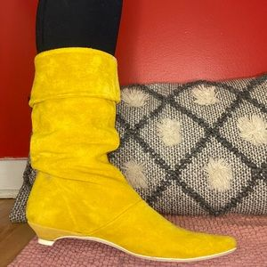 HOST PICK Yellow suede kitten heeled boots size 37